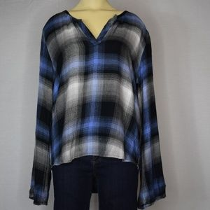 Cloth & Stone    Blue & Black Plaid Shirt   M